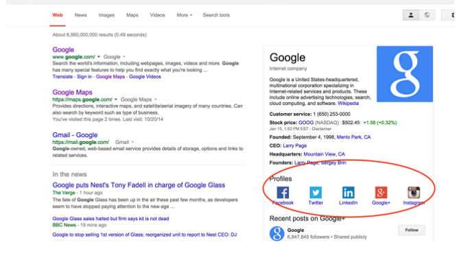 Show Your Social Profiles In Google Search Results Page From Your WordPress Site